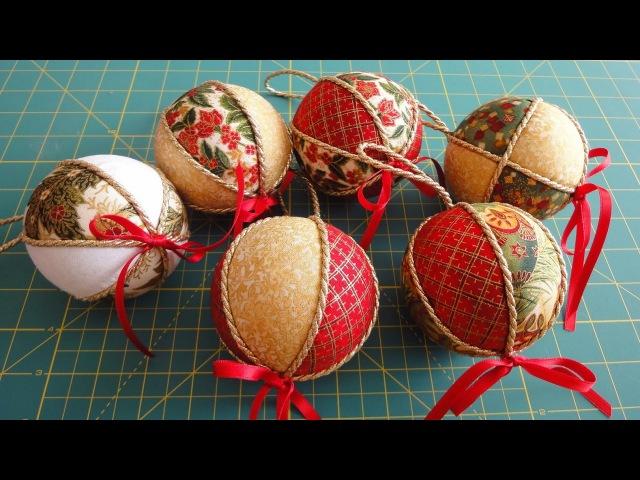 Ёлочный шар из ткани или лент своими руками мастер класс