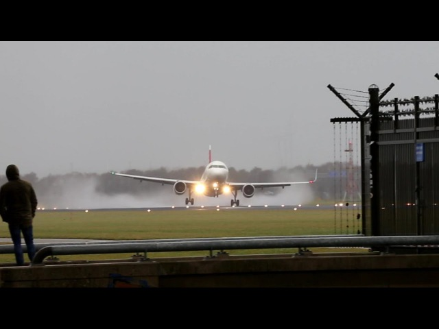STORM Schiphol Touch and Go Around A320 by Swiss 20-11-2016