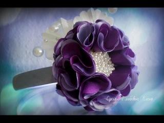 Flower Kanzashi Master Class hand made DIY Канзаши мастер класс, Ободок с цветком