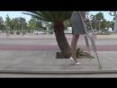 One-legged amputee lady crutching 03