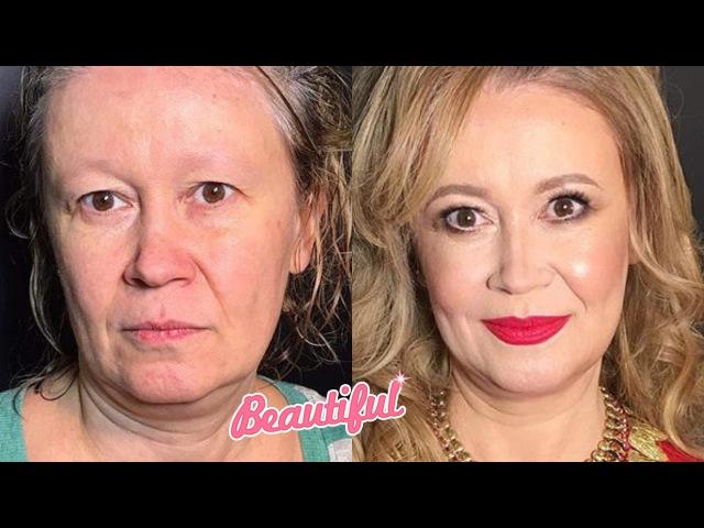 До и после. Возрастной макияж. Чудеса Макияжа. Нереальное перевоплощение