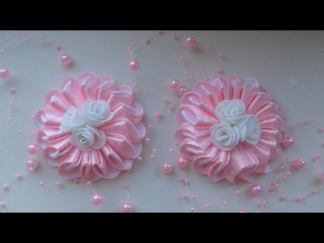 Нежные зефирки с розами. Мастер класс. Канзаши / DIY Kansashi