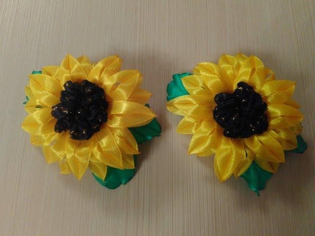Бантики Подсолнухи из узкой ленты 0 6см МК Bows Sunflowers from narrow strip is 0 6 cm MK