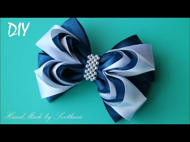 Бантики из лент ШКОЛЬНЫЕ КАНЗАШИ DIY Bows made of ribbon Kanzashi Laço de Cetim Curva da fita 9