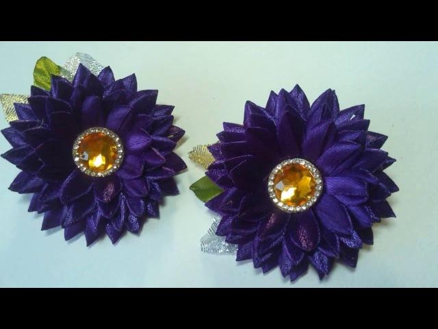 DIY Резиночки хризантемки из узкой ленты/ Hair ornaments of narrow tape