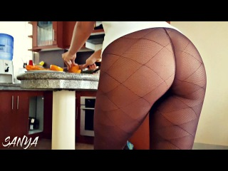 29f1c4b0f68a8 Pantyhose No Panties with Raw Sounds   Making Breakfast