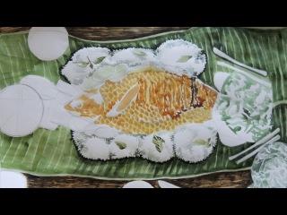 Этапы рисования копченой рыбы акварелью