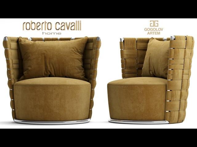 №44.Моделирование кресла Roberto Cavalli Lounge Occasional Chairs Bell в 3d max.