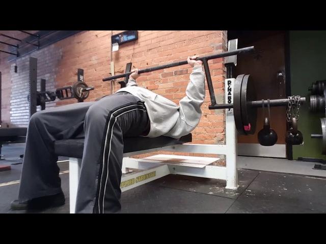 Bench press stabilization. Camber bar 265 bar wght, 70 in kettles