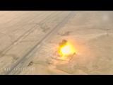 Съемка с дрона Атаки 3х смертников ИГ на правительственный силы.(шахидмобиль,ИГИЛ, ISIS, бомба, война, Сирия, блокпост, взрыв)