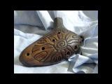 Handbuild clay Shamanic 9-hole ocarina, double milk firing, unique shamanic totem musical instrument