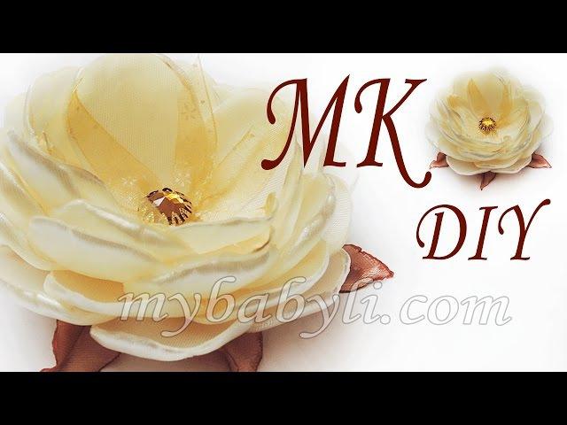Цветок канзаши МК / Пышный цветок из атласных лент / Ribbon flower making tutorial