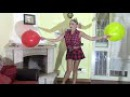 looner girl with schoolgirl uniform blow to pop 2 big balloons red and yellow  with long nails