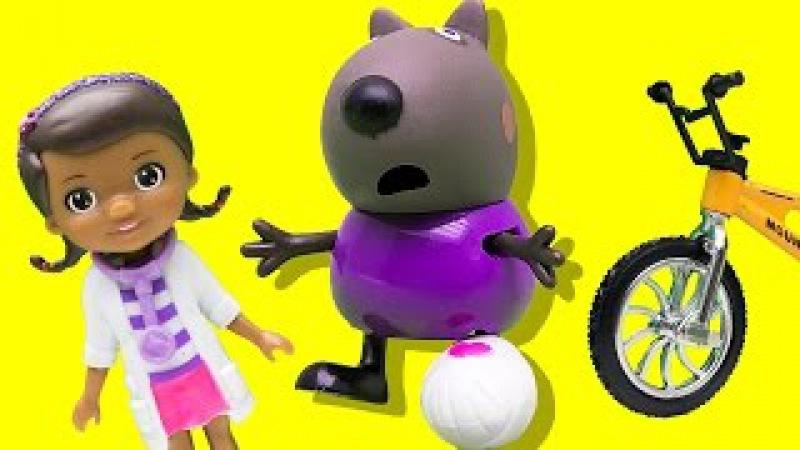 Свинка Пеппа. Мультик из игрушек. Доктор Плюшева лечит Дэнни, он упал с велосипед...
