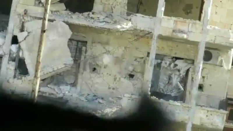 Aleppo Malhama Tactical allied with HTS blowing up Assad sniper position with thermobaric weapon in northwestern Aleppo Ci