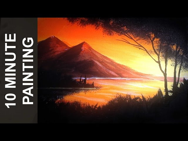 Painting a Sunset Over a Lake with Acrylics in 10 Minutes
