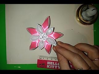 Цветок-заколка из атласных лент, мастер класс, канзаши kanzashi Nowa karta. master class, dekoracja,