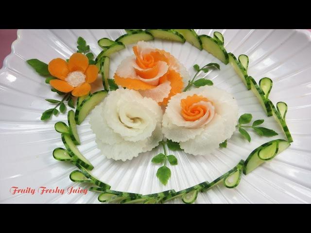 Art In Radish Carrot Roses Design - Best Vegetable Flower Carving Garnish