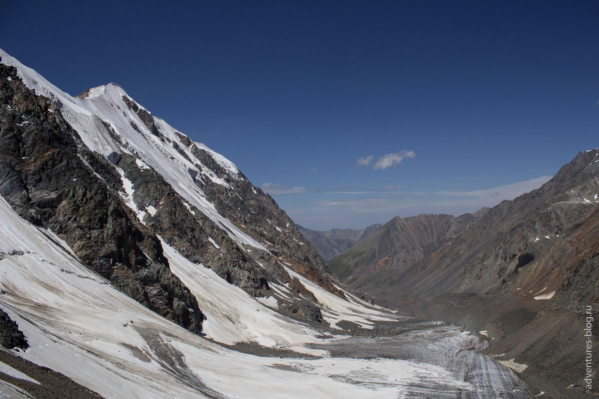 Вид с подъема в перевал на долину откуда мы пришли