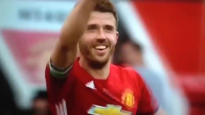 Michael Carrick and his son dabbing at his testimonial