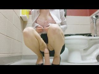 Maxisma aka elzbieta - work office bathroom stuff gag dildo cum (1080p) [amateur, petite teen, solo, masturbation]