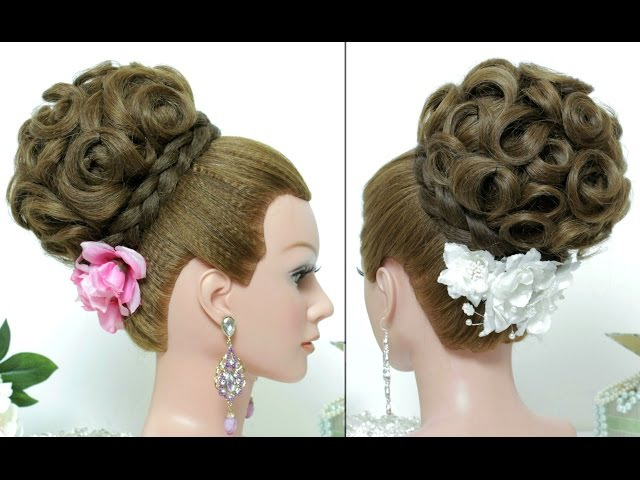Bridal hairstyle. Updo for long hair tutorial