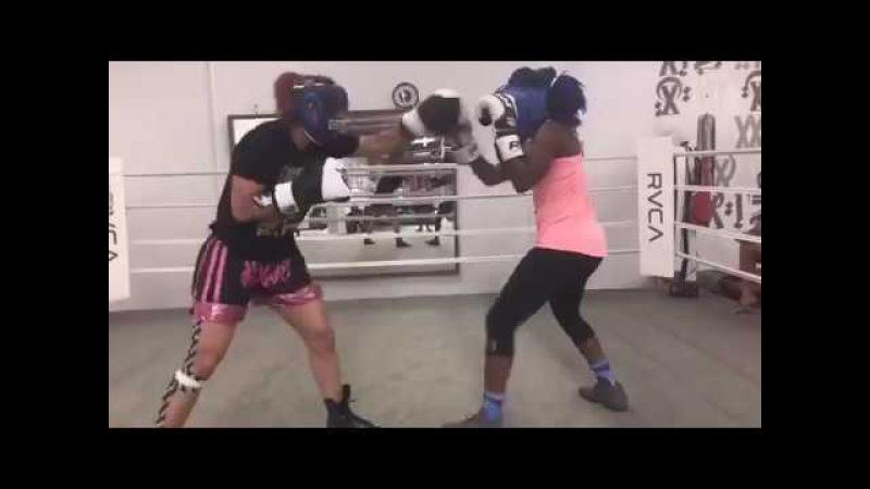 Cris Cyborg vs Claressa Shields Sparring - Cyborg Looks Like She Got Rocked! UFC VS Boxing