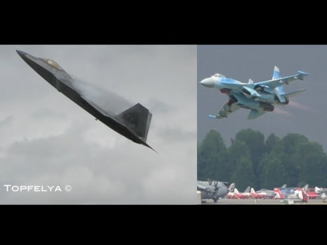 My 3 favourite spectacular takeoffs F-22 Raptor SU-27 Flanker at RIAT 2017 air show