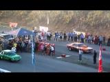 Нелегальные уличные гонки на тюнингованых машинах ЗАЗ 968 и шевроле камаро(360p)