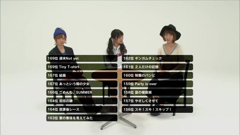 Список песен 170-156 [Shizuka Oya, Rie Kitahara, Aki Takajo, AKB48 Request Hour Setlist Best 1035 2015]