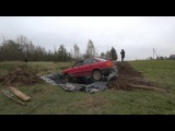 Angry Grandpa jumping with a car in Pool with 12000 litres of Coca Cola