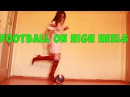 Young goddess playing football on Luxury Pointy High Heels boots Gianmarco Lorenzi
