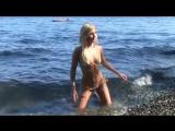 Mini micro bikini model photoshoot in body color g-string