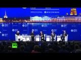 В.В. Путин  отвечает на вопросы американской журналистки на пленарном заседании ПМЭФ