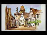 Pen and Wash Watercolor demonstration  Old Quarter