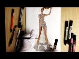 DRAWING SHEER DRESS WITH GEMS. Beyonc@MetGala- Fashion Drawing
