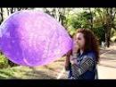 girl blow to pop anniversary balloons (balloon pop looner challenge)