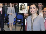 Queen Letizia Back to Glossy Brunette Fashion Style as She Handing out Tomas Francisco Prieto Prize