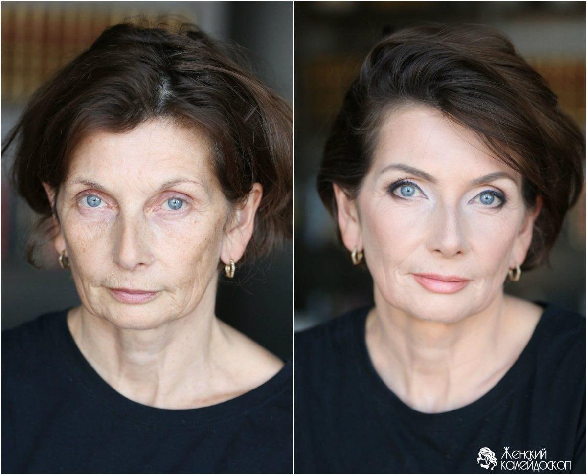 Макияж в 50 лет голубые глаза