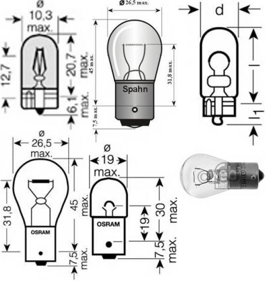 Лампа накаливания, фонарь сигнала торможения для BMW Z3 купе (E36)
