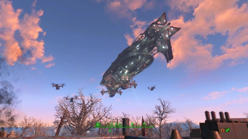 Fallout 4 прилетел вдруг Братство стали в дирижабле