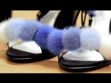 Босоножки с помпонами из меха норки от бренда GAGIC. Коллекция WILD SIBERIA