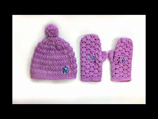 Женский комплект крючком. Варежки / Crochet mittens