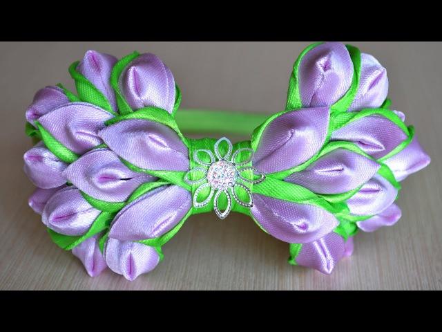 Бант из ленты на ободке канзаши Мастер класс Ribbon bow DIY kanzashi handmade hair ornaments