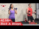 40 Min Back and Bicep Workout for Women Men - Back and Biceps Exercises at Home with Dumbbells