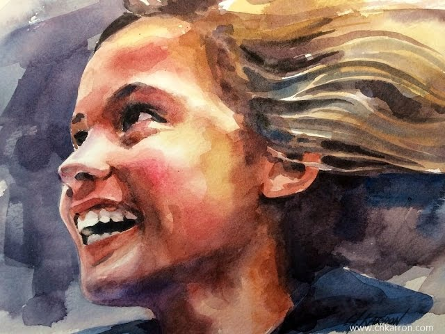 Watercolor portrait time lapse SPEED PAINT by Ch.Karron