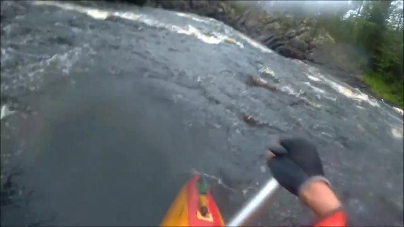 Карелия, Река Охта, порог Кивиристи,три ступени, два катамарана, август 2017