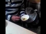 Кот ест по-человечески
