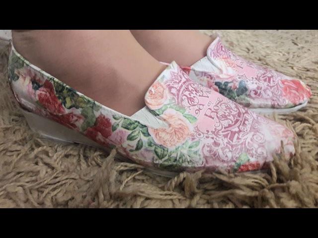 Как я переделала старые туфли СМОТРИТЕ видео ДО И ПОСЛЕ Декупаж обуви