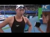Ну очень эмоциональная китайская пловчиха!))) Радуется победе!